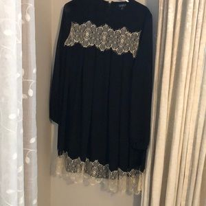 Topshop long sleeve sheer sleeve dress